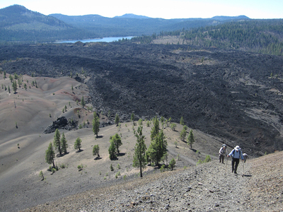 Hikers approach as the trail turns steep in Lassen Volcanic Park