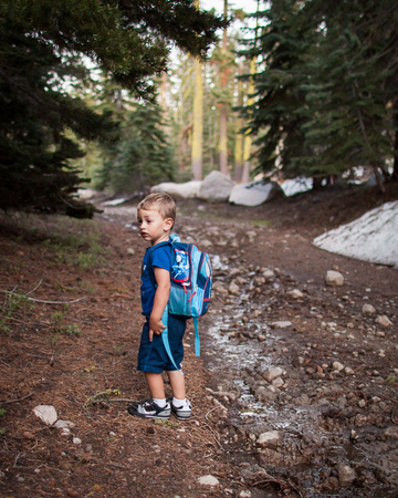 Matteo hiking with his Thomas the Tank Engine pack