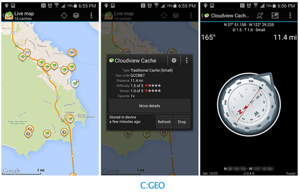 Map, Info, and Compass of the C:GEO App