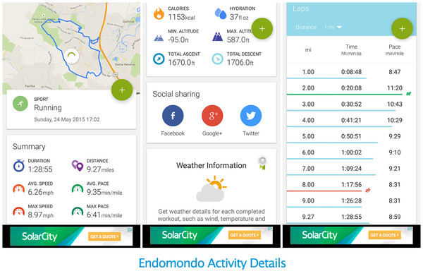 Some Screen Captures from Endomondo