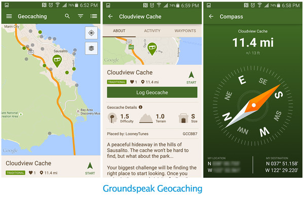 Map, Info, and Compass of the Geocaching App