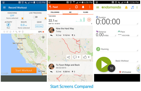 Map My Run / Strava / Endomondo - Home Screens Compared