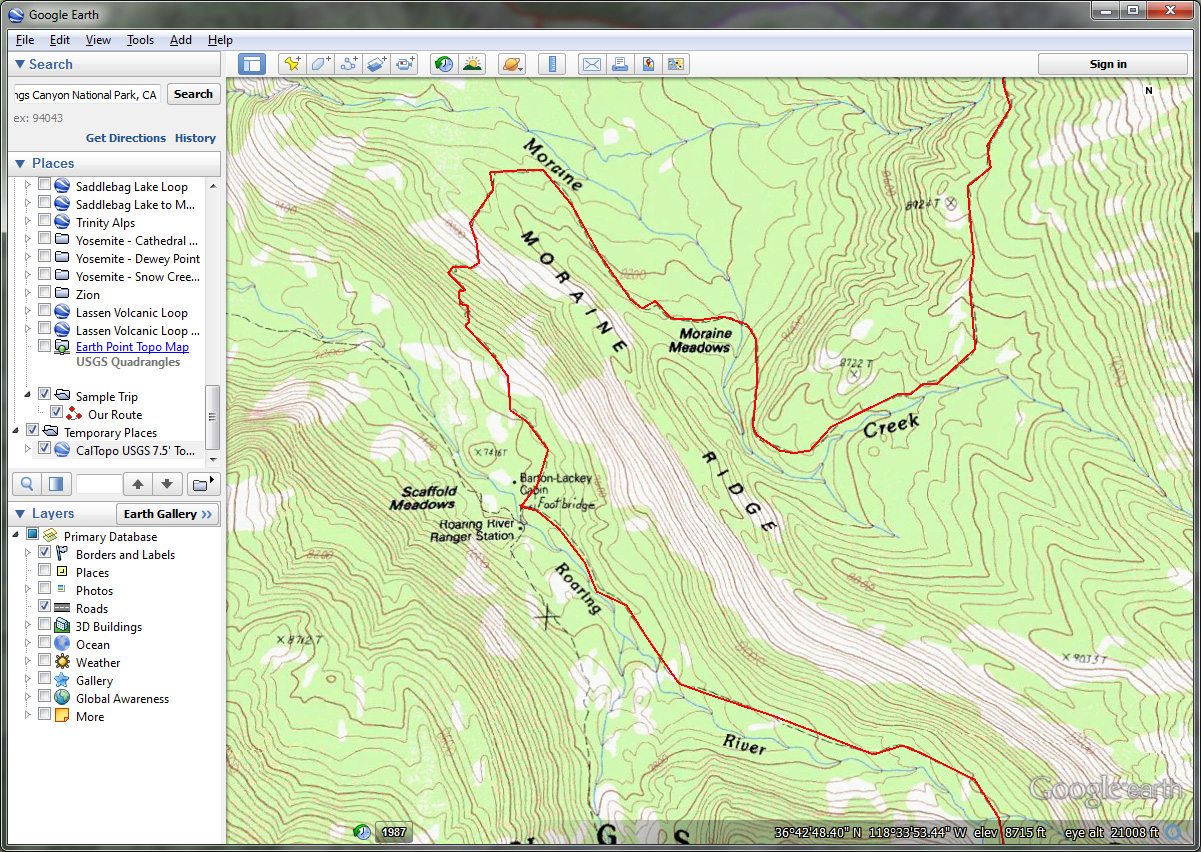 Our Newly Created Route Zoomed To See Detail Smartphones In The Backcountry  '�  Part Iv Google Earth