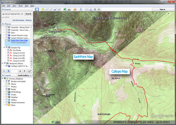 Caltopo vs. Earthpoint Maps