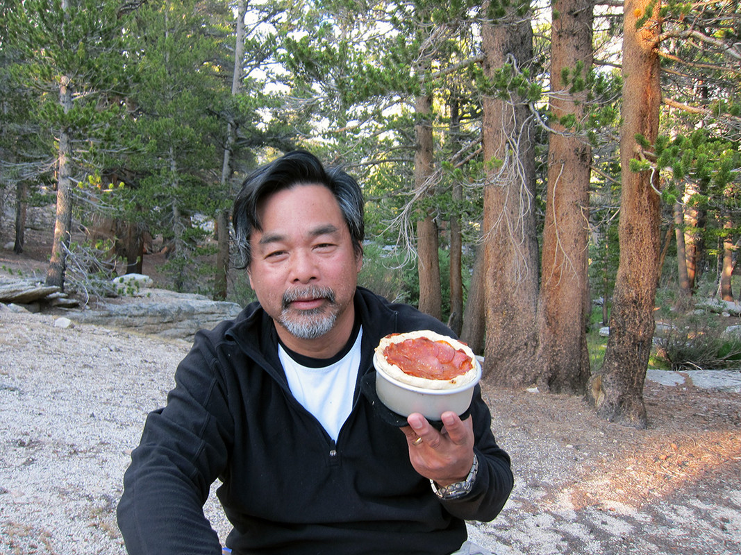 John with double crust pizza on the JMT